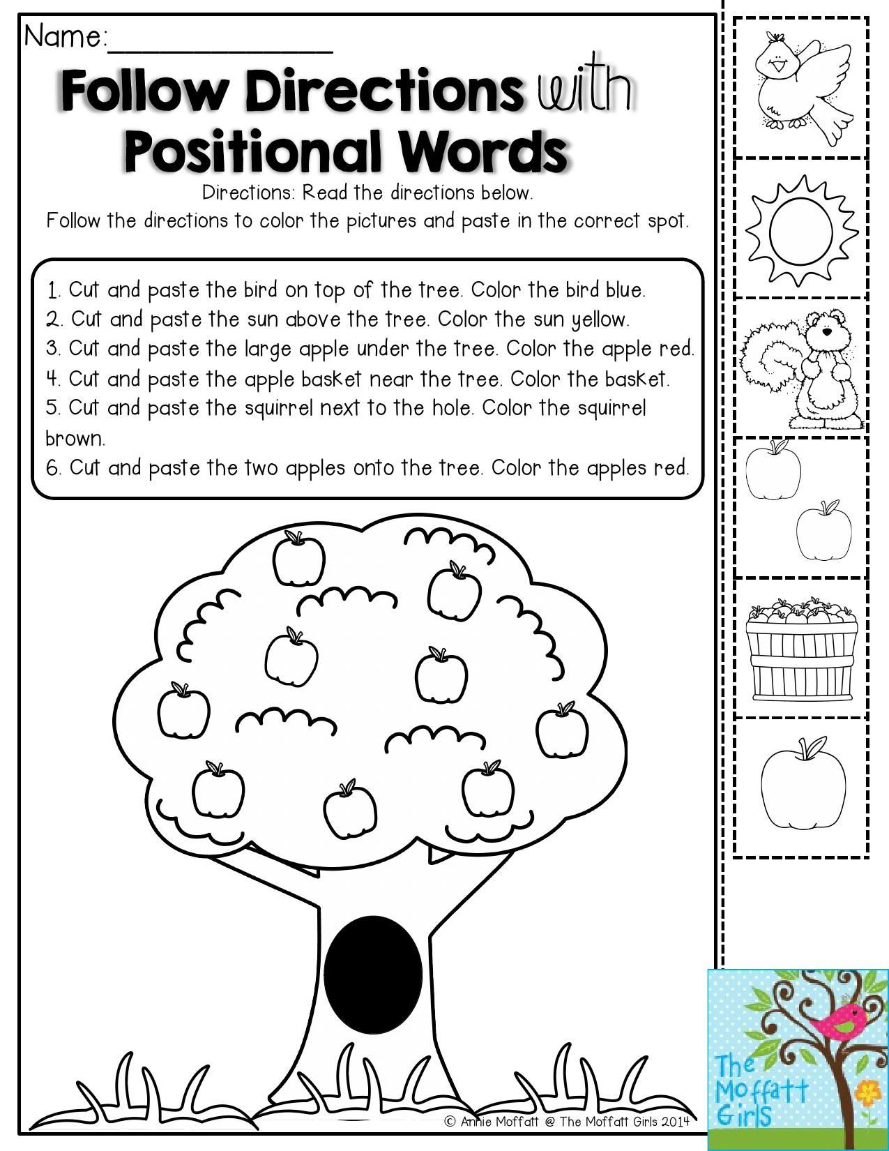 Printable Following Directions Worksheet Back to School Packets
