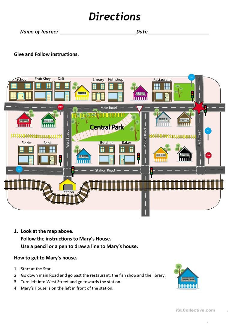 Printable Following Directions Worksheet Give and Follow Directions On A Map