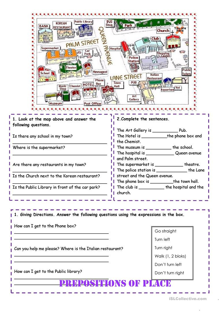 Printable Following Directions Worksheet Prepositions Of Place and Directions English Esl