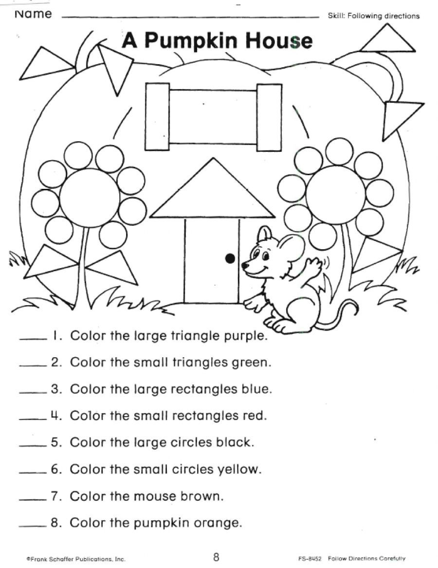 Printable Following Directions Worksheets Following Directions Worksheets Shapes