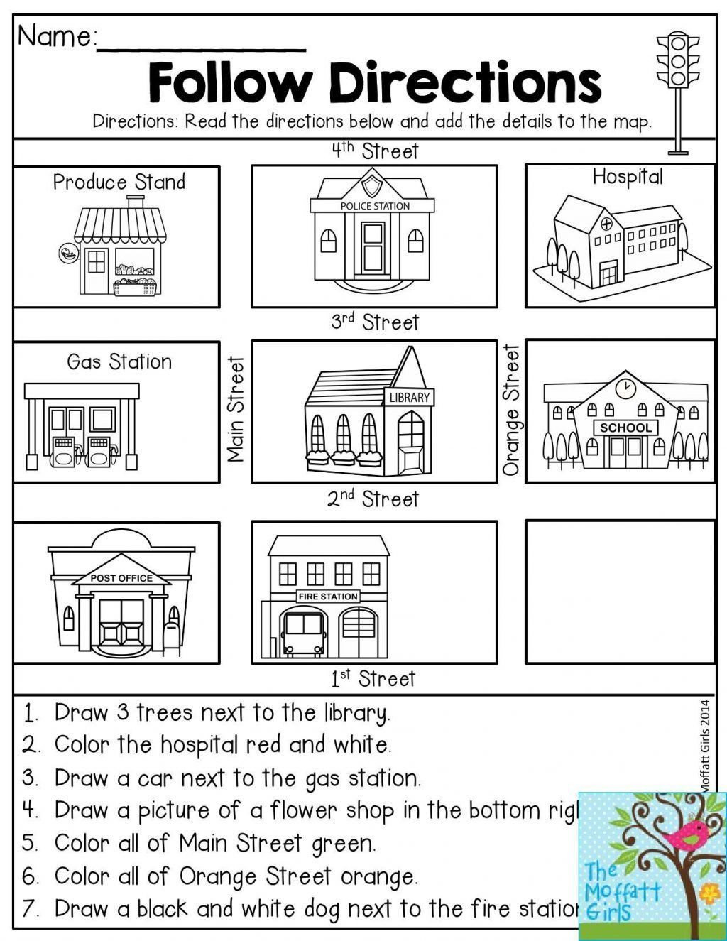 Printable Following Directions Worksheets Free Map Skills Worksheets Math Worksheets Free Printable