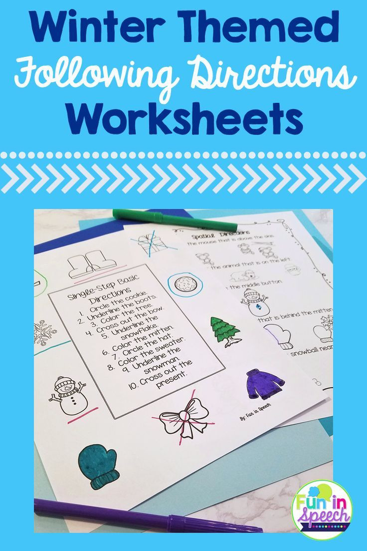 Printable Following Directions Worksheets Winter Following Directions Worksheets for Speech therapy