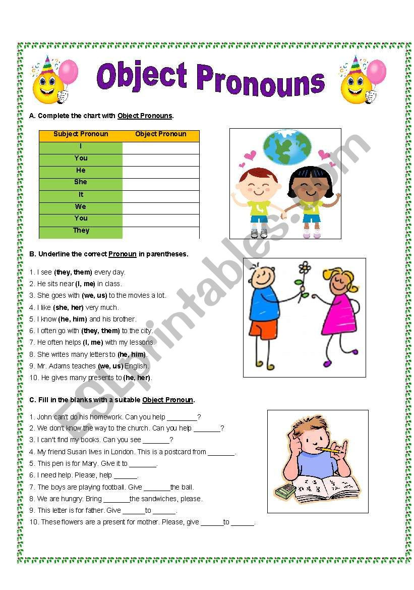 Printable Pronouns Worksheets Object Pronouns Esl Worksheet by Gitasiva Worksheets Free