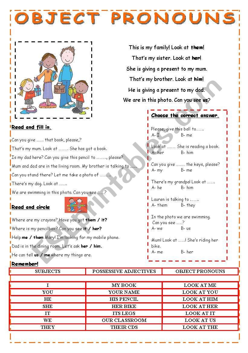 Printable Pronouns Worksheets Object Pronouns Esl Worksheet by Pauguzman Worksheets Free