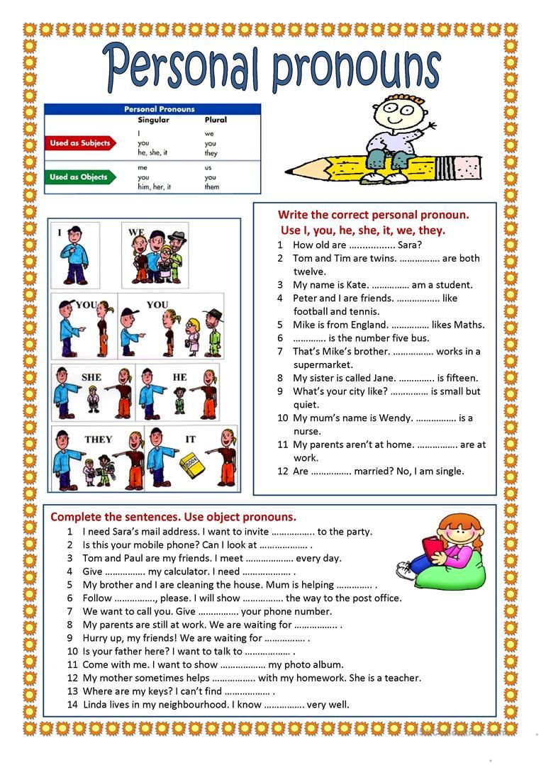 Printable Pronouns Worksheets Personal Pronouns