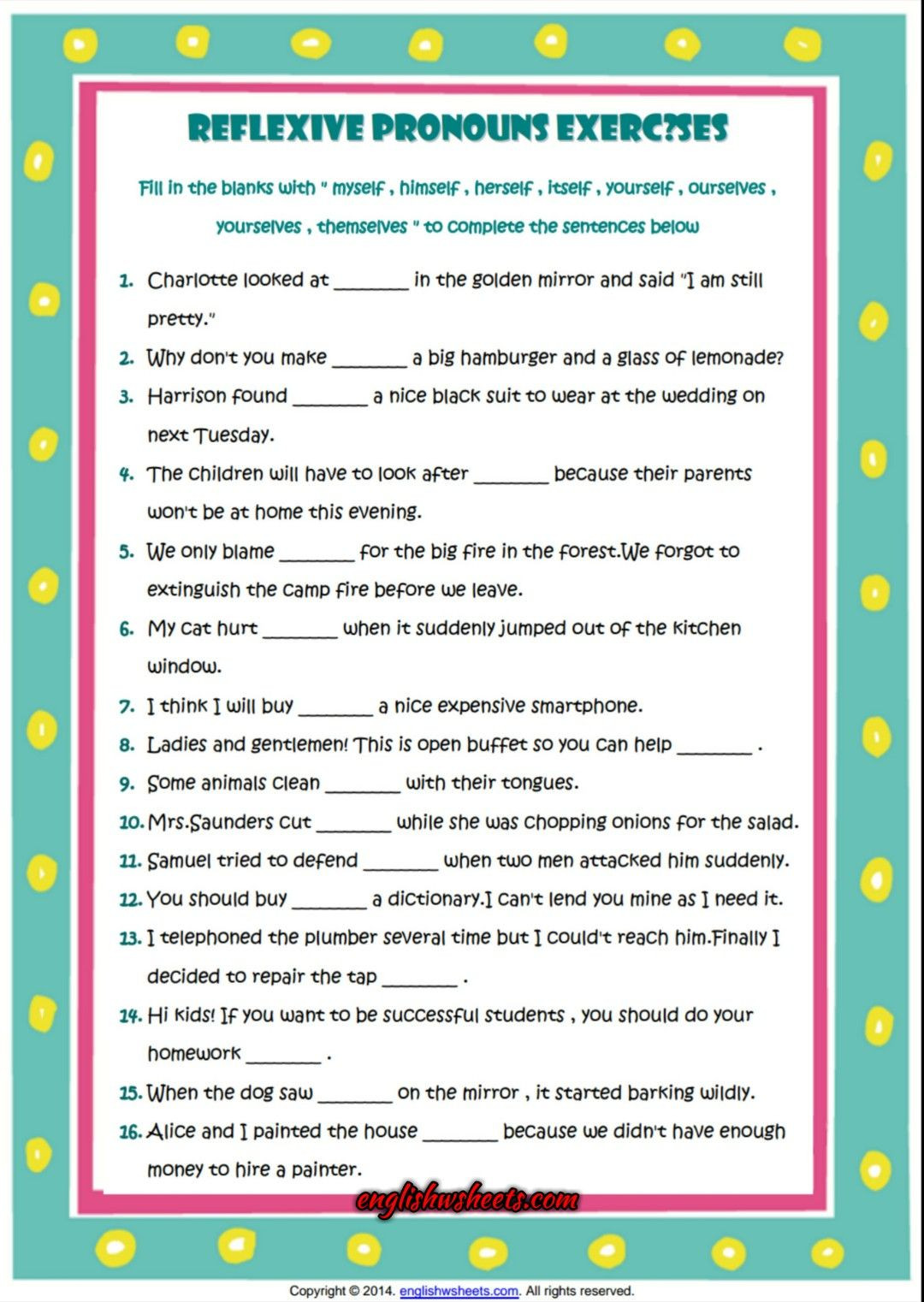 Printable Pronouns Worksheets Reflexive Pronouns Esl Grammar Exercise Worksheet