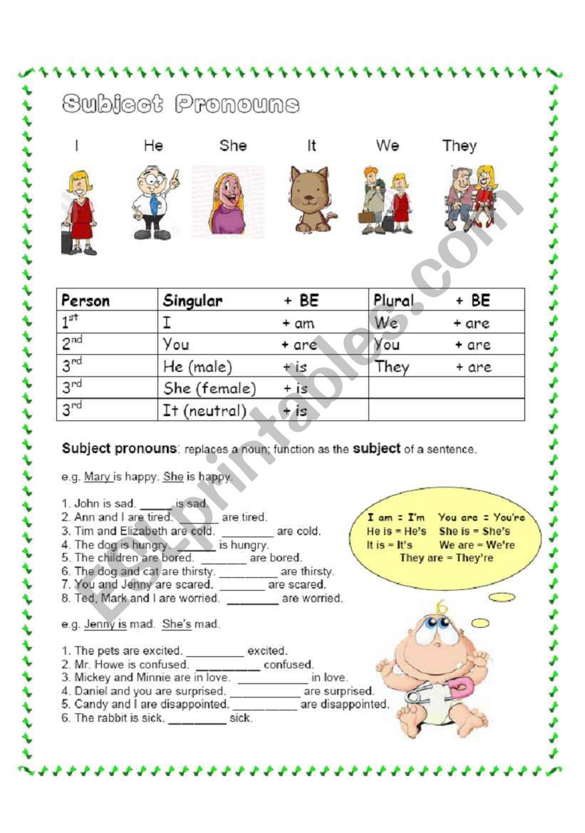 Printable Pronouns Worksheets Subject Pronouns Esl Worksheet by Bcelsie