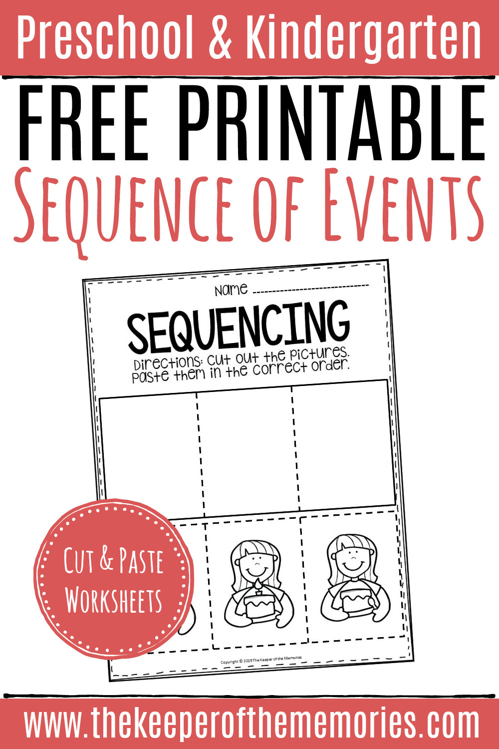 Printable Sequencing Worksheets Free Printable Sequence events Worksheets Sequencing Cut