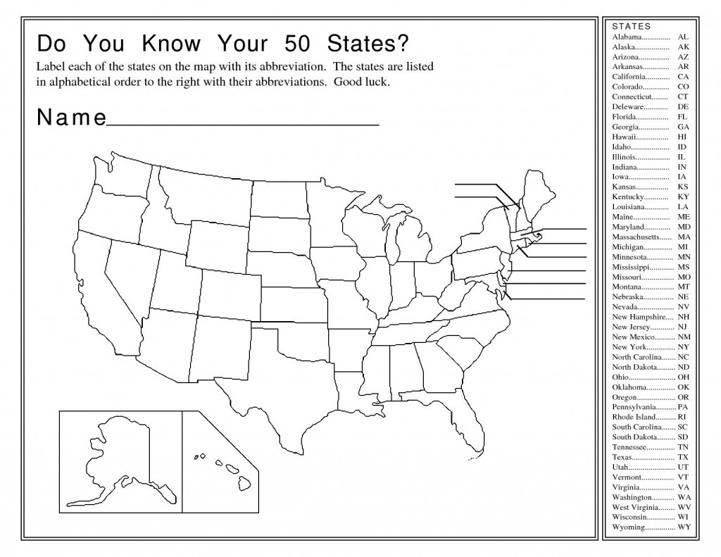 Printable State Capitals Quiz State Abbreviation Map Worksheet