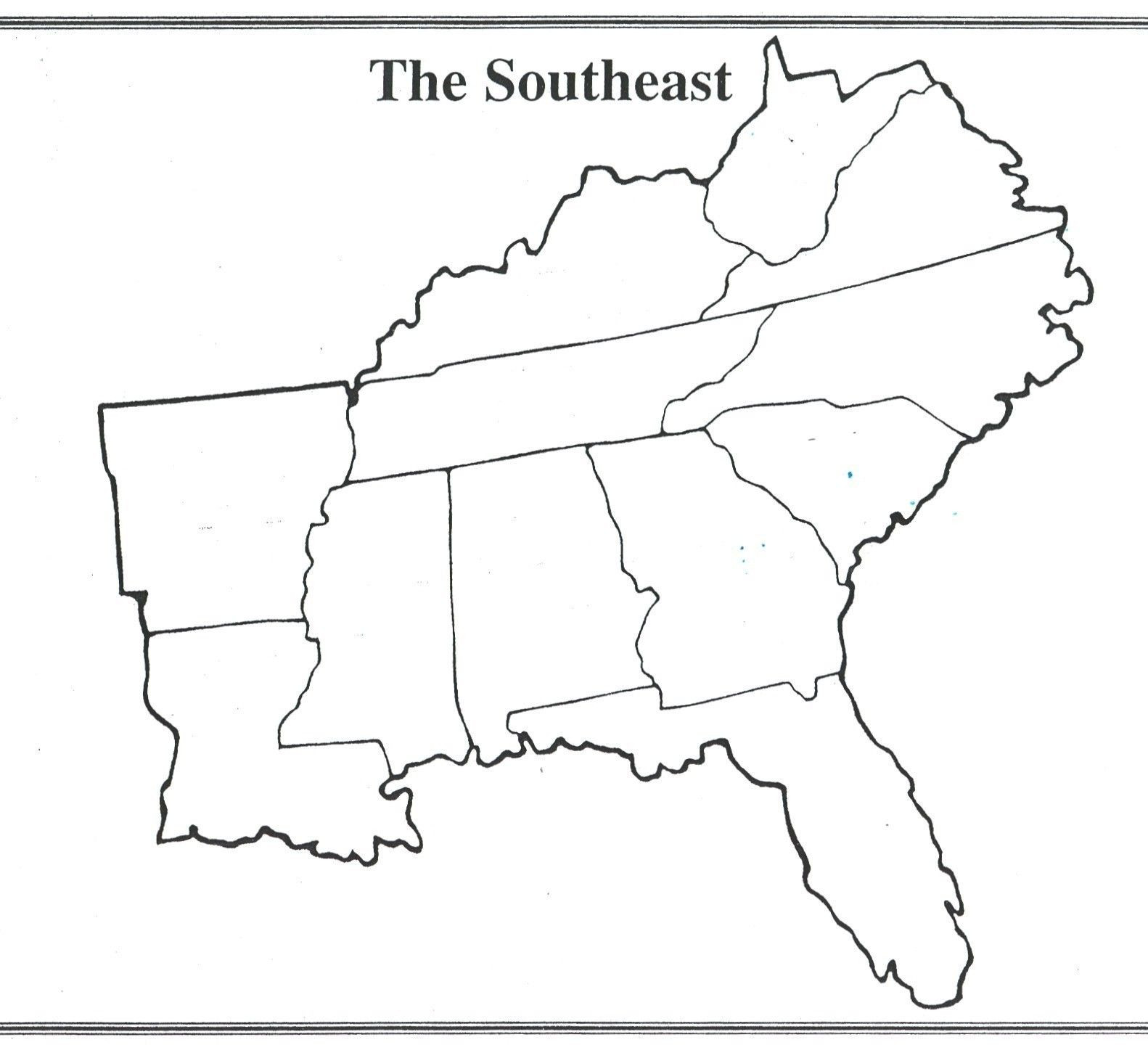 Printable States and Capitals Quiz Interesting Blank Us Map Quiz Printable south Eastern States