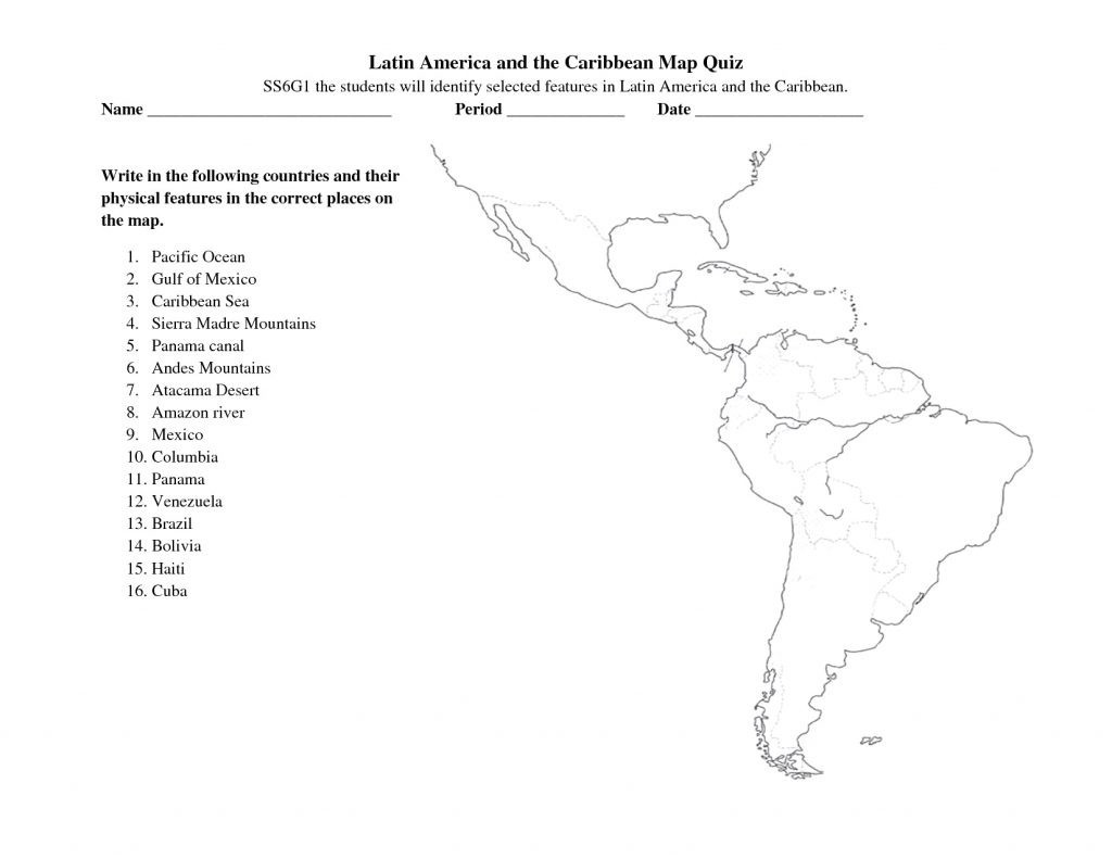 Printable States and Capitals Quiz south America Map Quiz Worksheet
