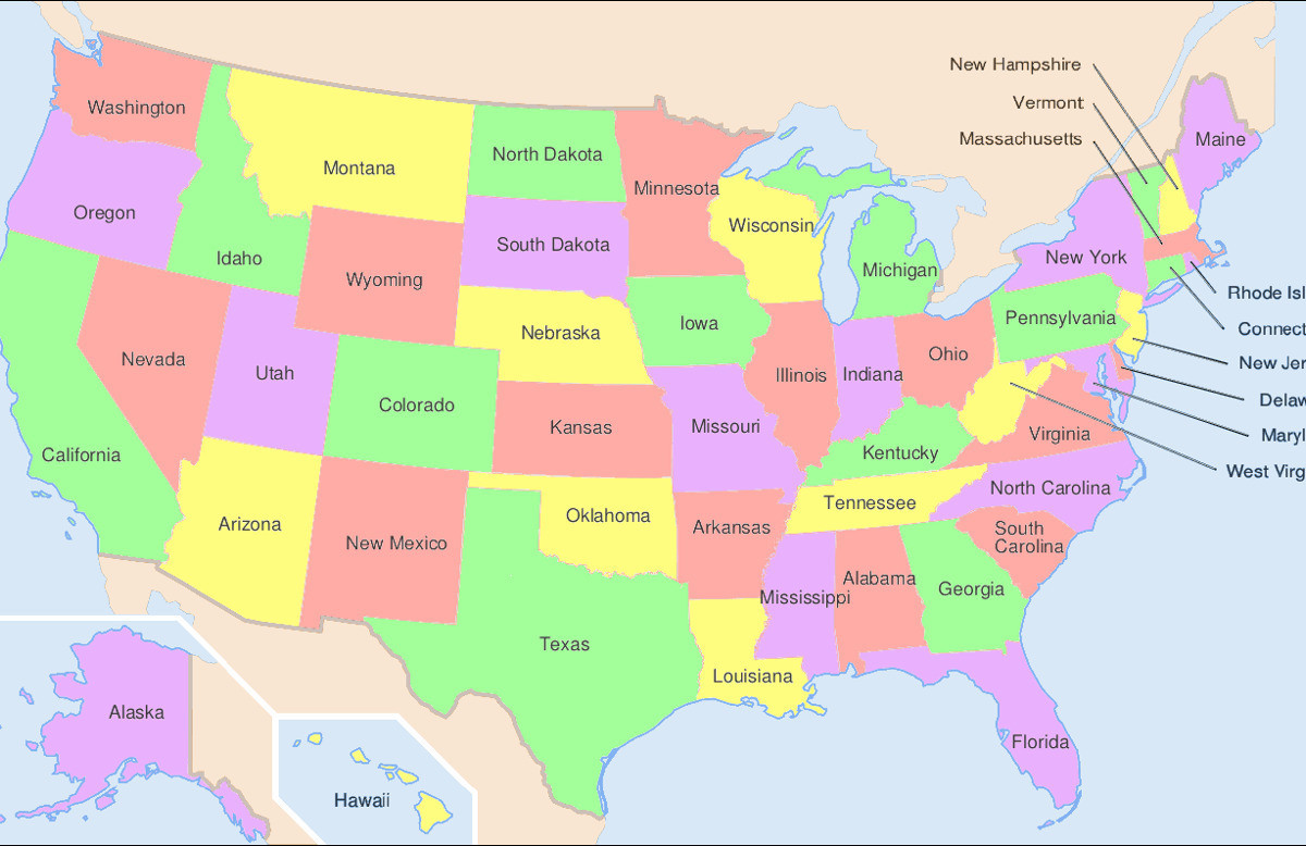Printable States and Capitals Quiz Us Map with Capitals and State Abbreviations