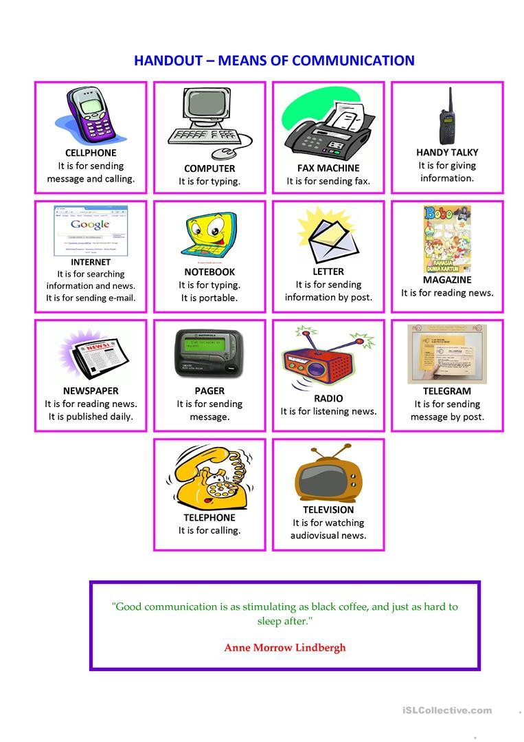 Printable Typing Worksheets Handout Means Of Munication English Esl Worksheets for