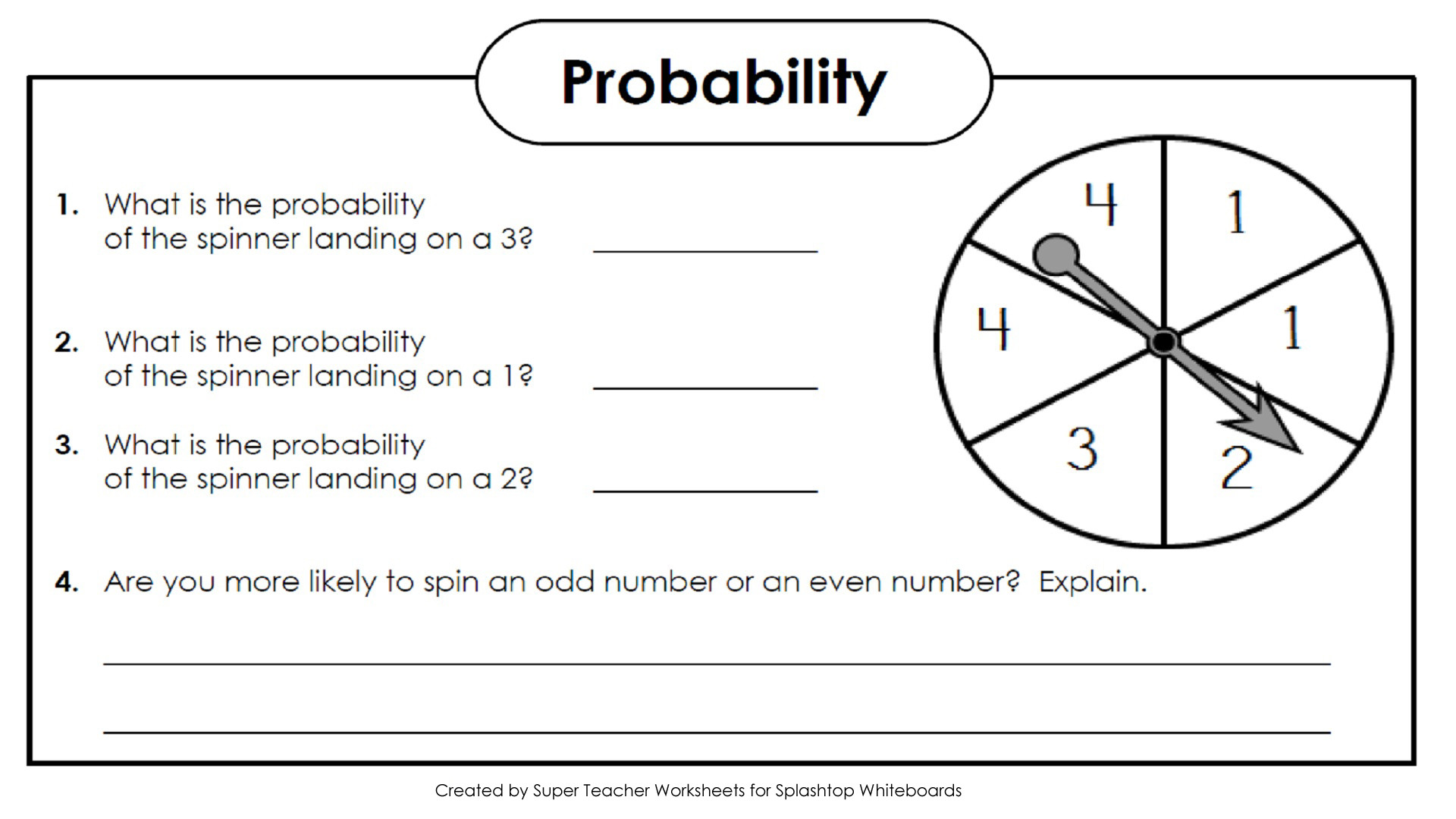 Probability Worksheet 4th Grade Splashtop Whiteboard Background Graphics Super Teacher