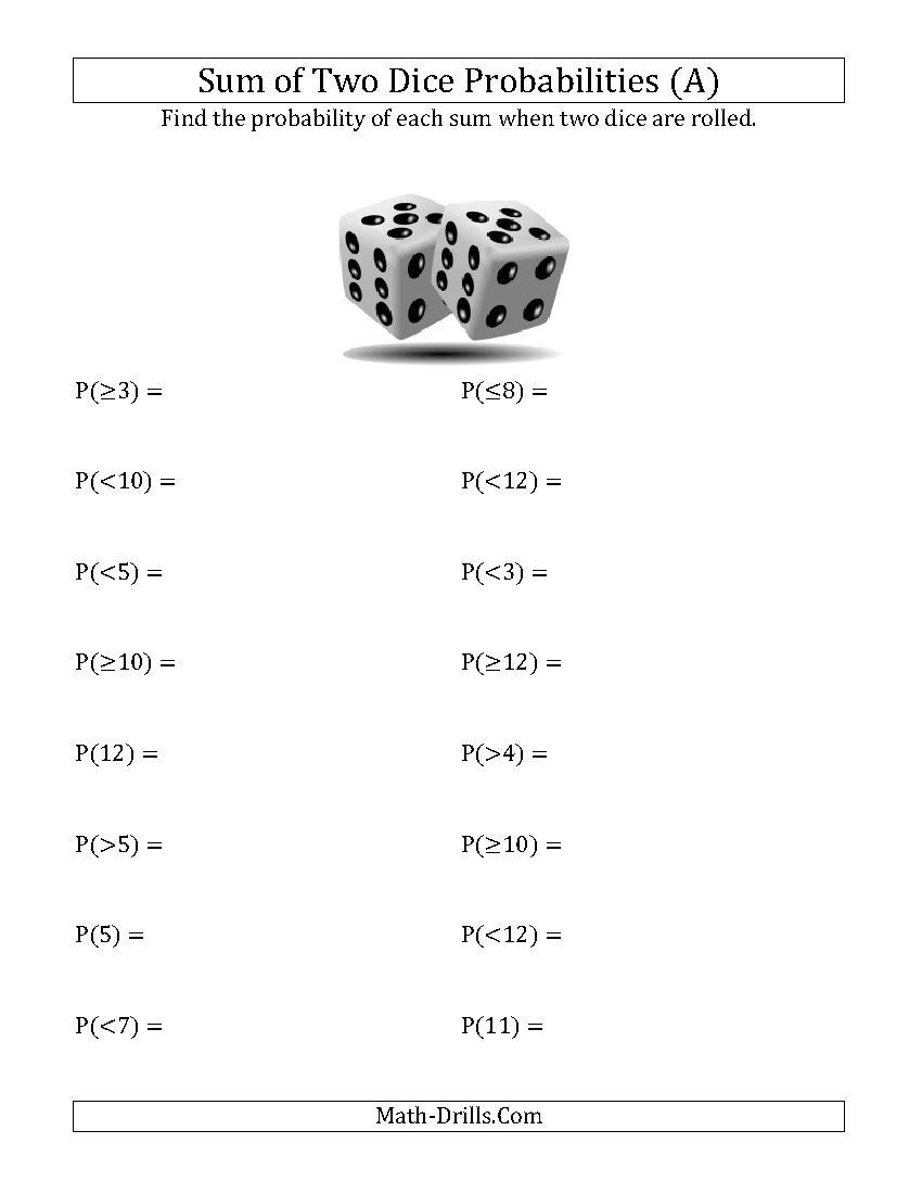 Probability Worksheet 4th Grade Sum Of Two Dice Probabilities A Statistics Worksheet
