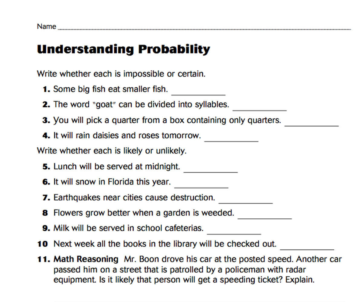 Probability Worksheet 4th Grade Understanding Probability Teachervision