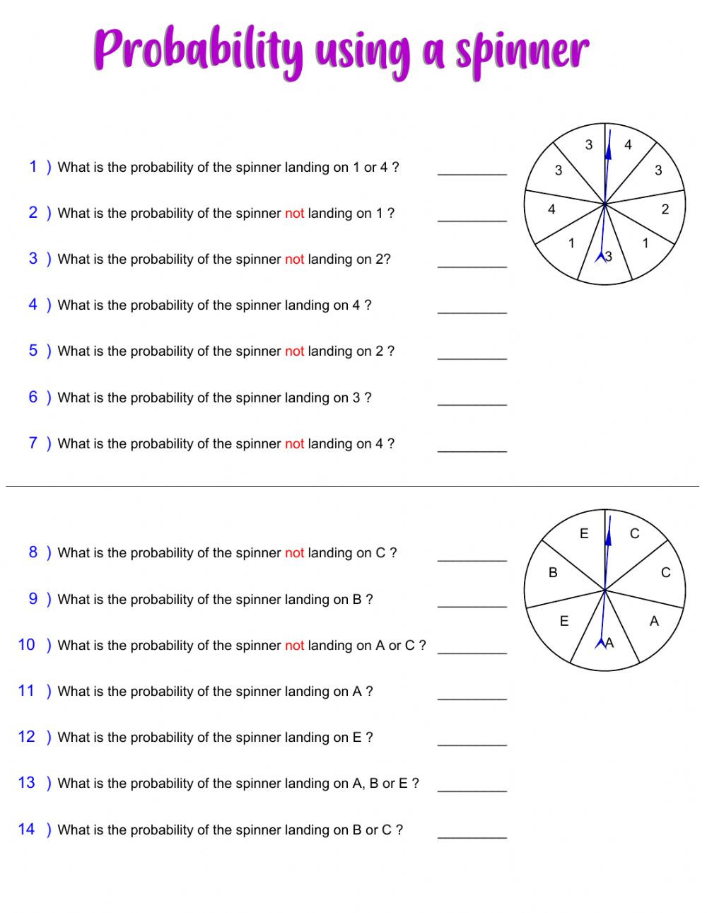 Probability Worksheet 5th Grade Probability with Spinner Interactive Worksheet