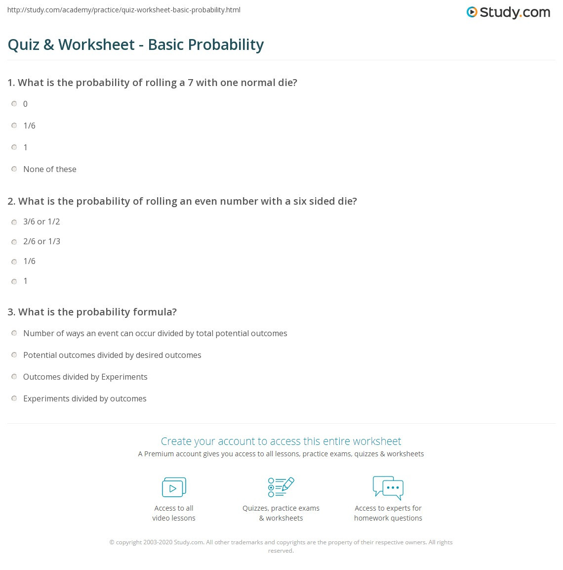 Probability Worksheet 6th Grade Probability Lesson 2 Worksheet
