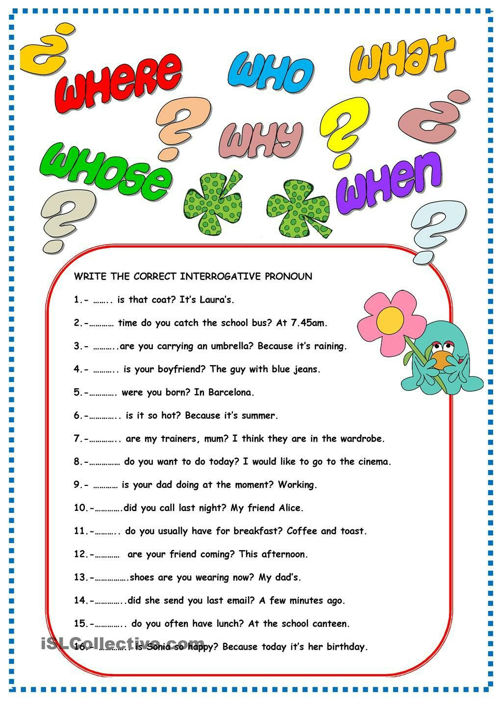 Pronoun Worksheets for 2nd Grade Interrogative Pronouns