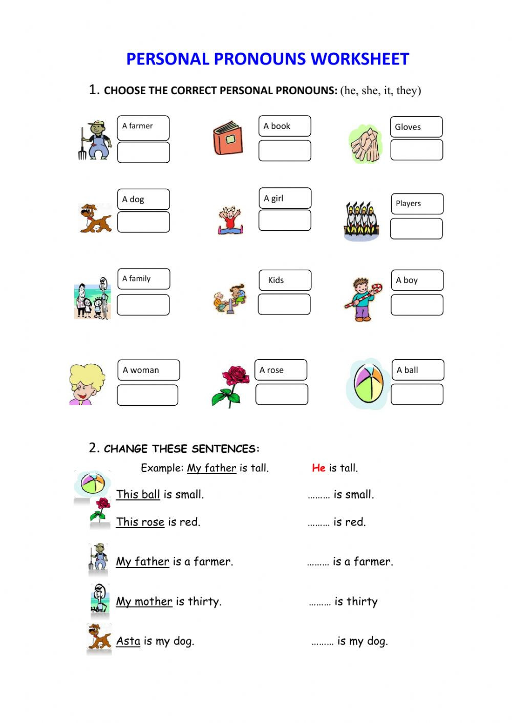 Pronoun Worksheets for 2nd Grade Personal Pronouns Interactive Worksheet