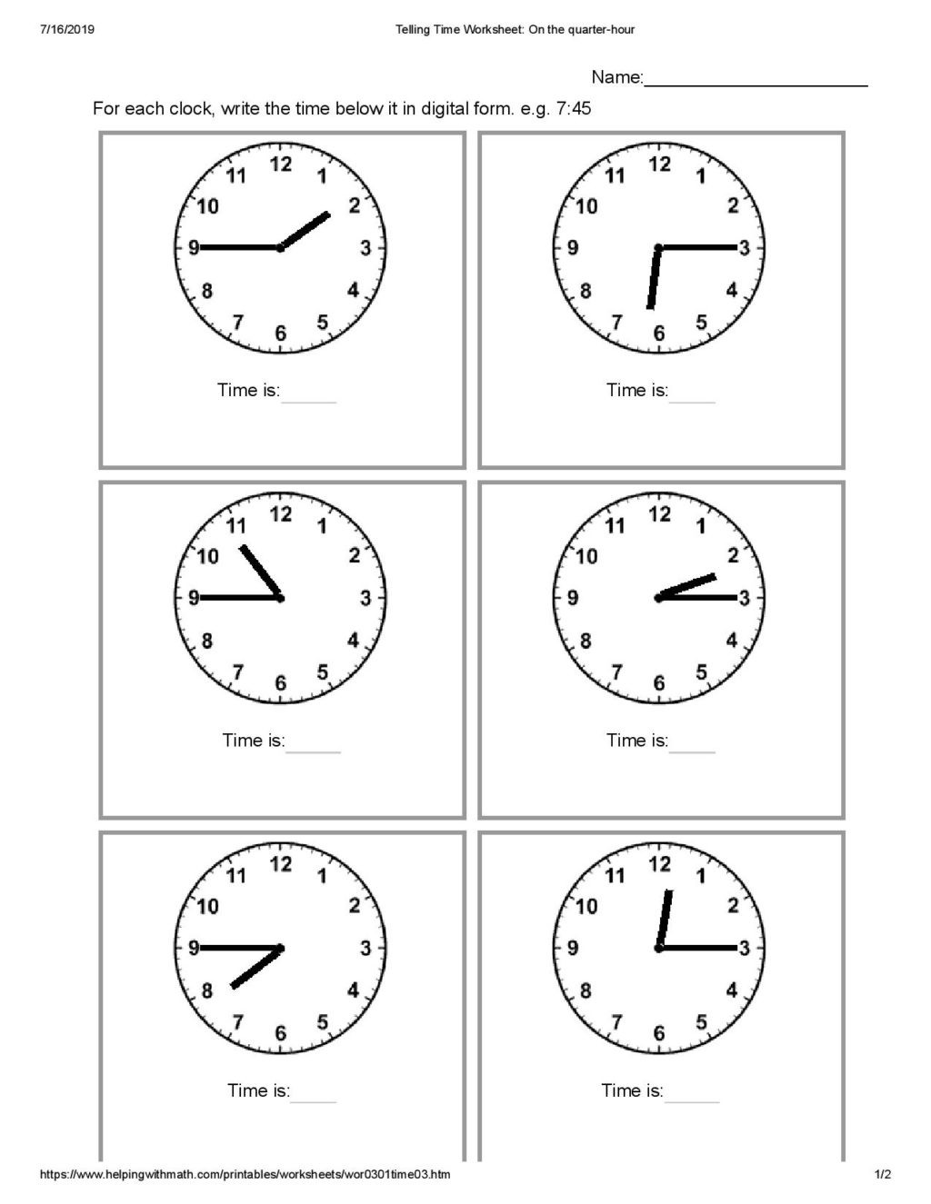 Pronoun Worksheets for 2nd Graders Worksheet 2nd Grade Telling Time Mathorksheet
