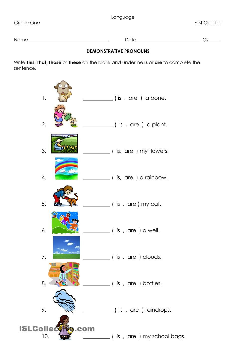 Pronoun Worksheets Second Grade Demonstrative Pronouns