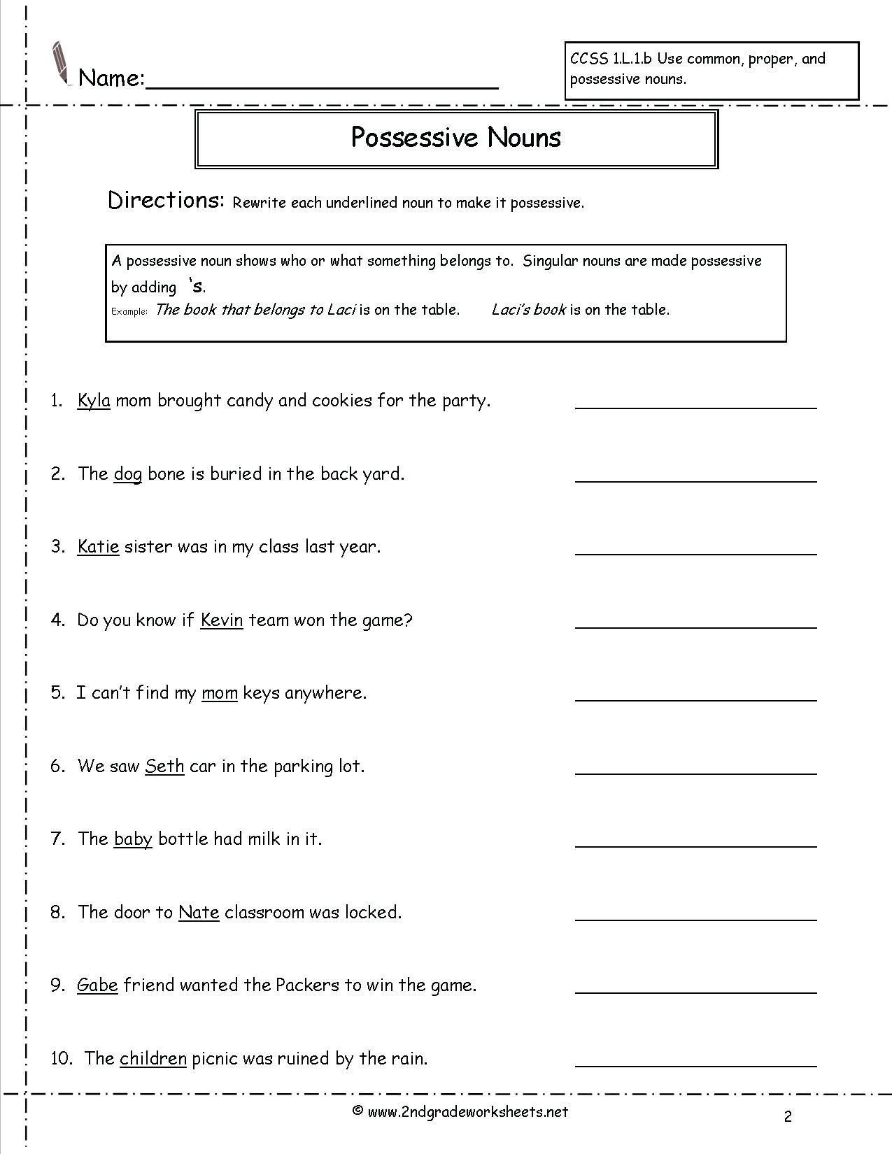 Pronoun Worksheets Second Grade Subject Pronouns Worksheets for 1st Grade
