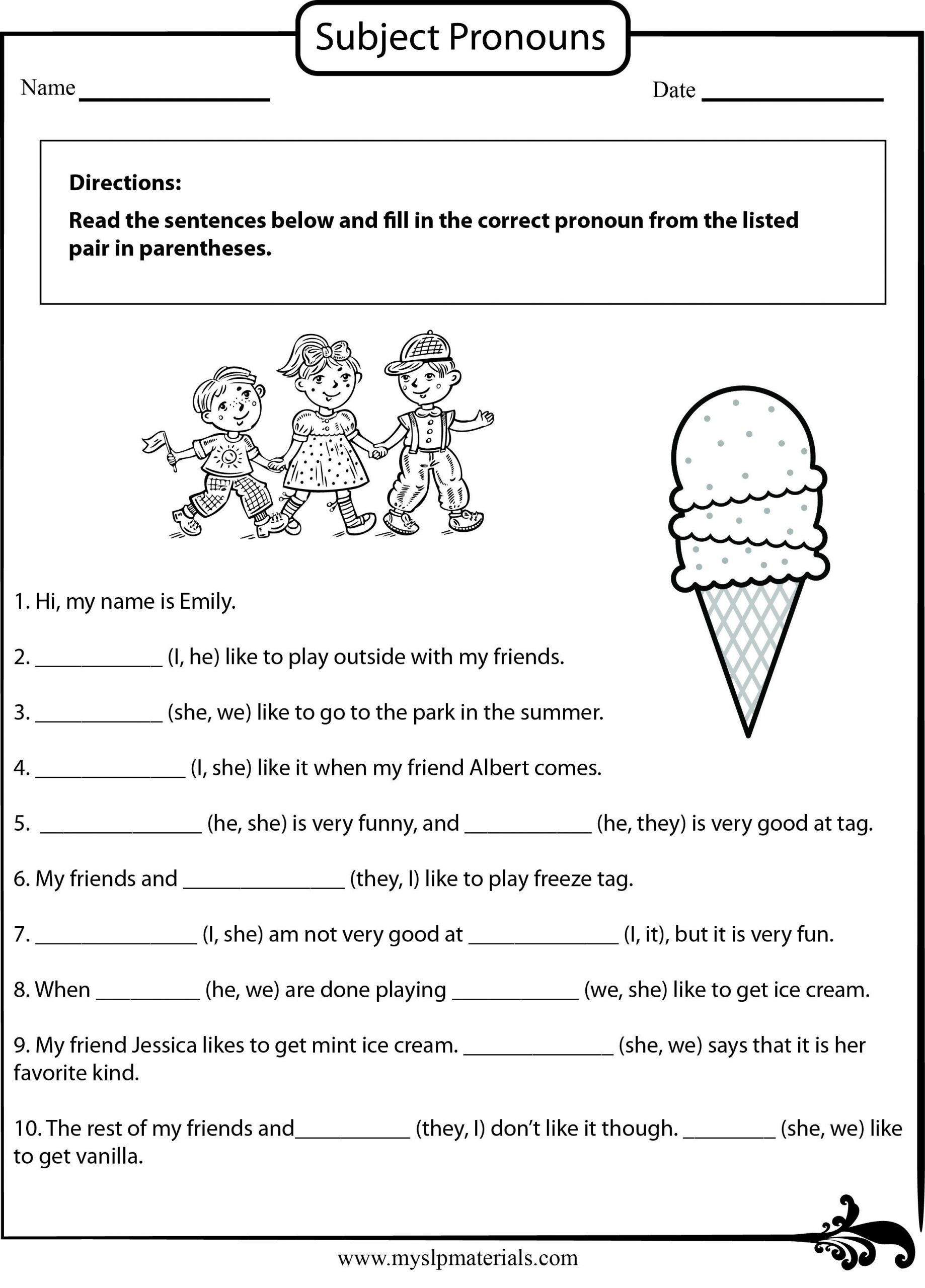 Pronouns Worksheet 2nd Grade Subject Pronoun Speech