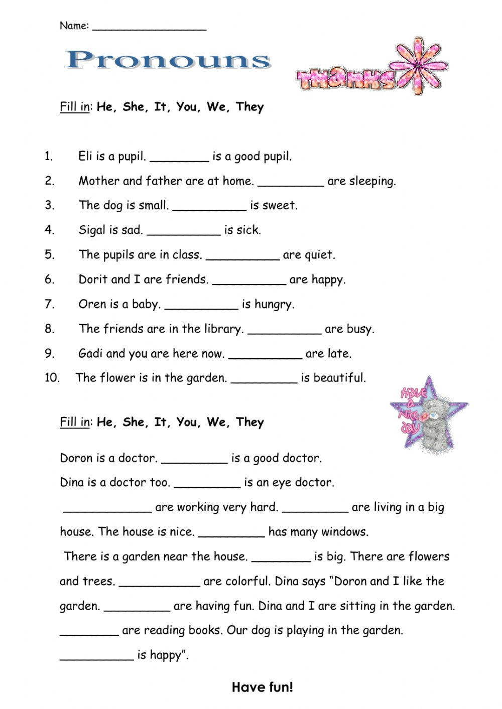 Pronouns Worksheets 5th Grade Pronouns Interactive Worksheet