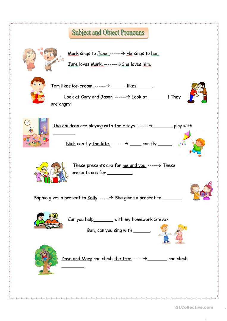 Pronouns Worksheets 5th Grade Subject and Object Pronouns English Esl Worksheets for