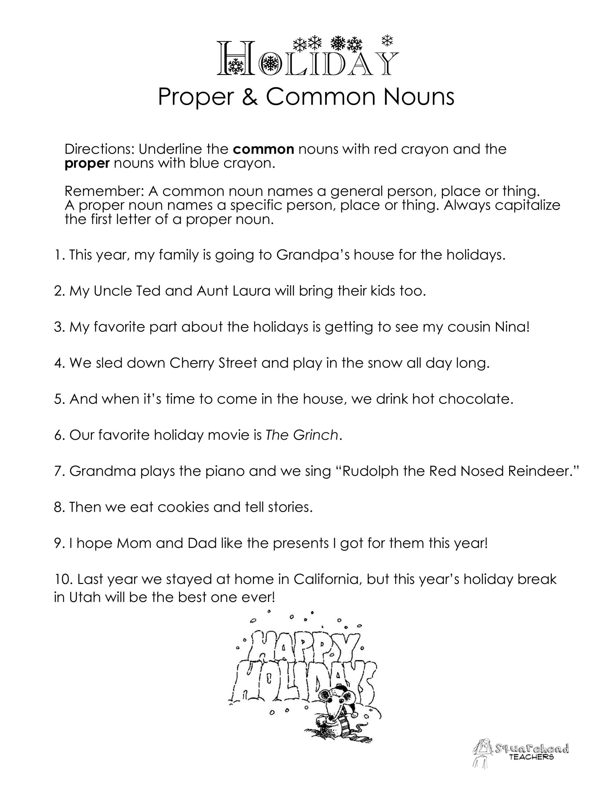 Proper Nouns Worksheet 2nd Grade Mon Vs Proper Nouns Christmas Winter Holidays Worksheet