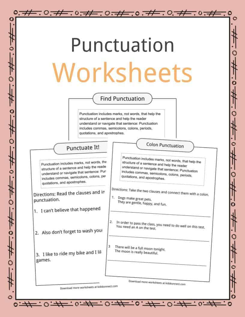 Punctuation Worksheets 5th Grade Punctuation Examples Worksheets Description for Kids Proper