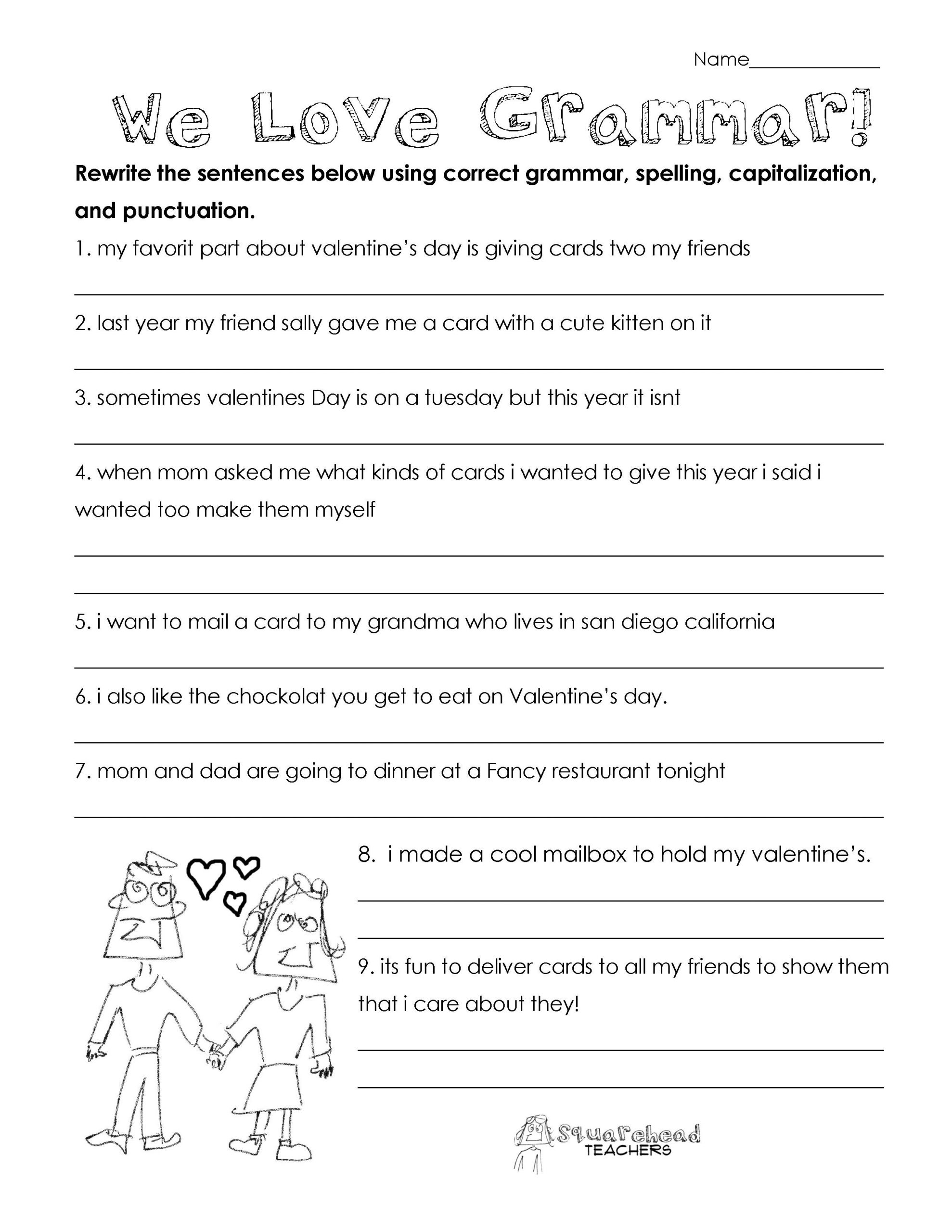 Punctuation Worksheets 5th Grade Valentine S Day Grammar Free Worksheet for 3rd Grade and Up