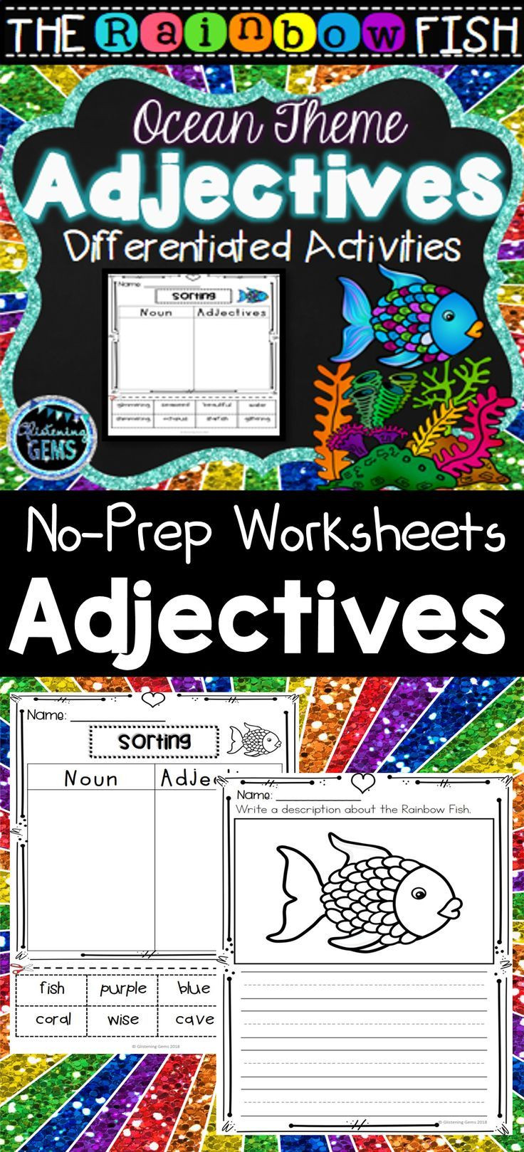 Rainbow Fish Printable Worksheets the Rainbow Fish Adjective Worksheets & Printables Color
