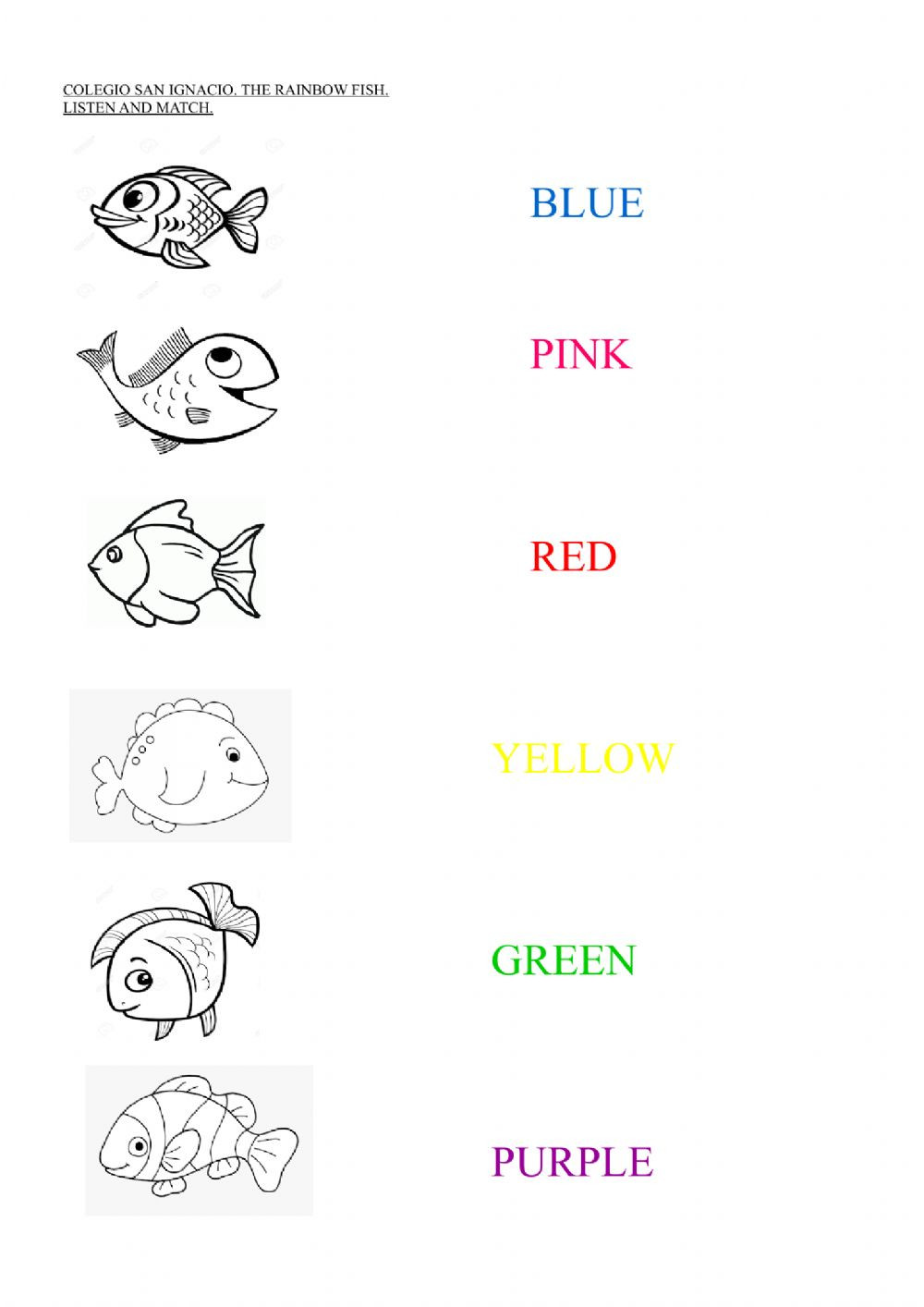 Rainbow Fish Printable Worksheets the Rainbow Fish Interactive Worksheet