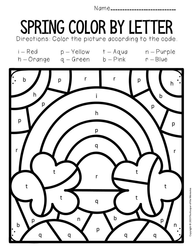 Rainbow Worksheets Preschool Color by Lowercase Letter Spring Preschool Worksheets