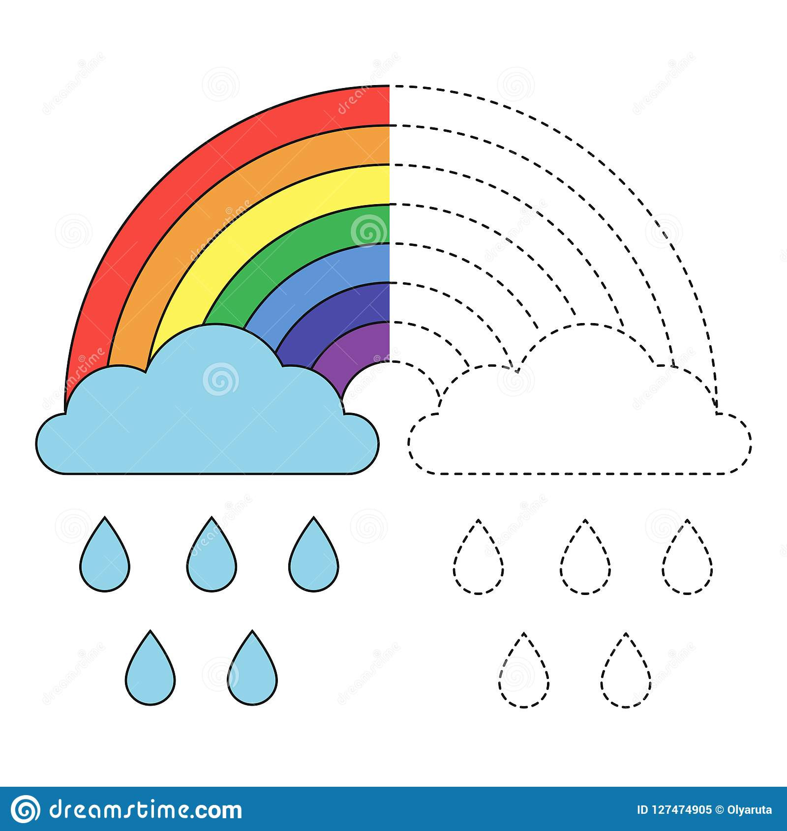Rainbow Worksheets Preschool Illustration Rainbow Clouds and Raindrops for toddlers