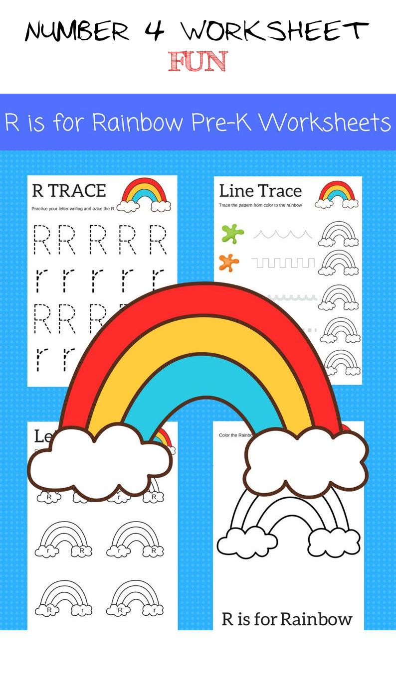 Rainbow Worksheets Preschool Number 4 Worksheet Fun 2 Printable Preschool Worksheets Fun