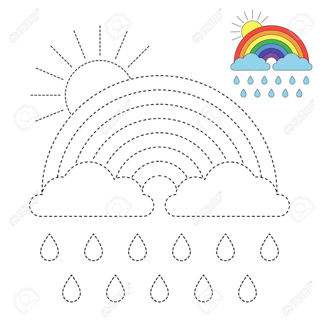 Rainbow Worksheets Preschool Vector Drawing Worksheet for Kids Simple Educational Game