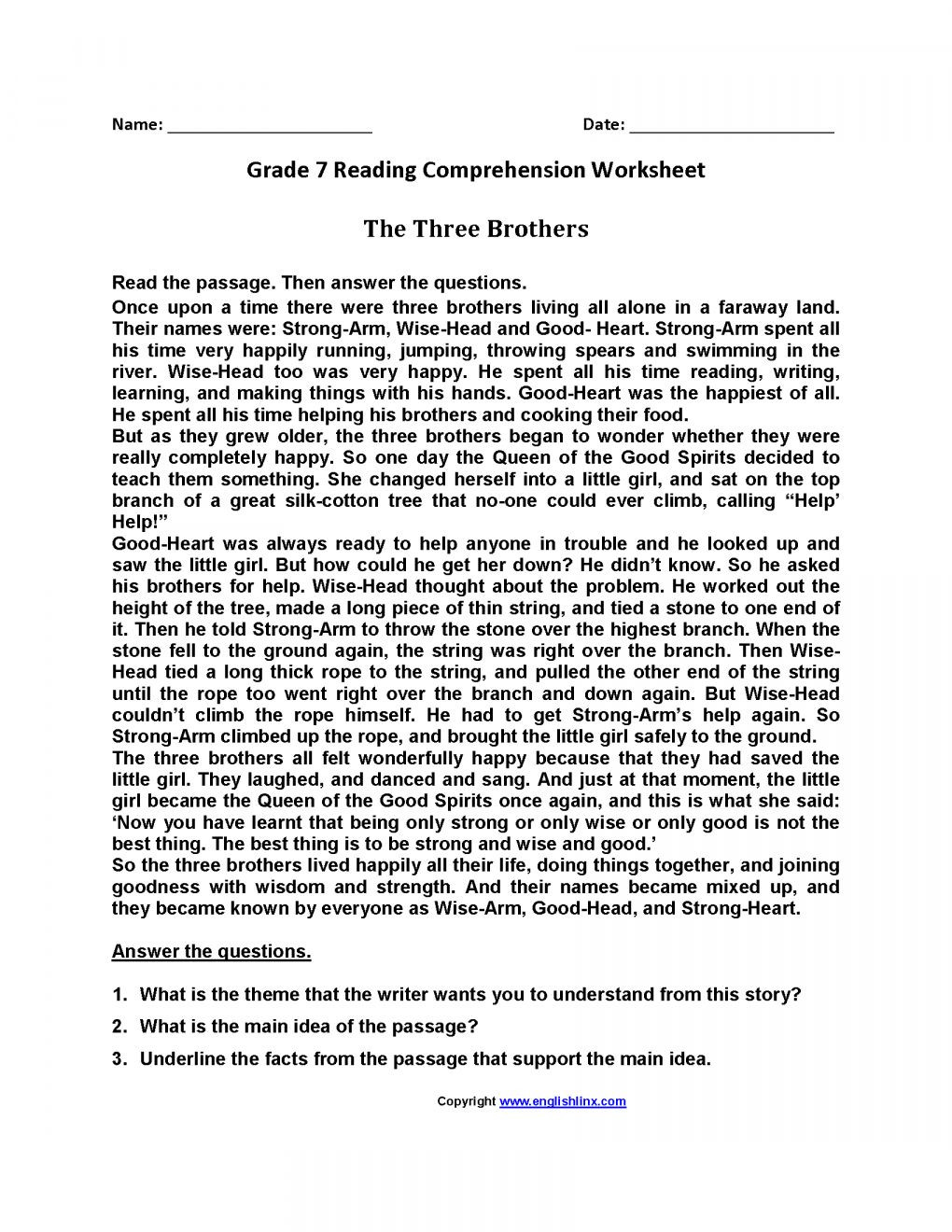 Reading Comprehension 7th Grade Worksheet 12 7th Grade Summarizing Worksheet