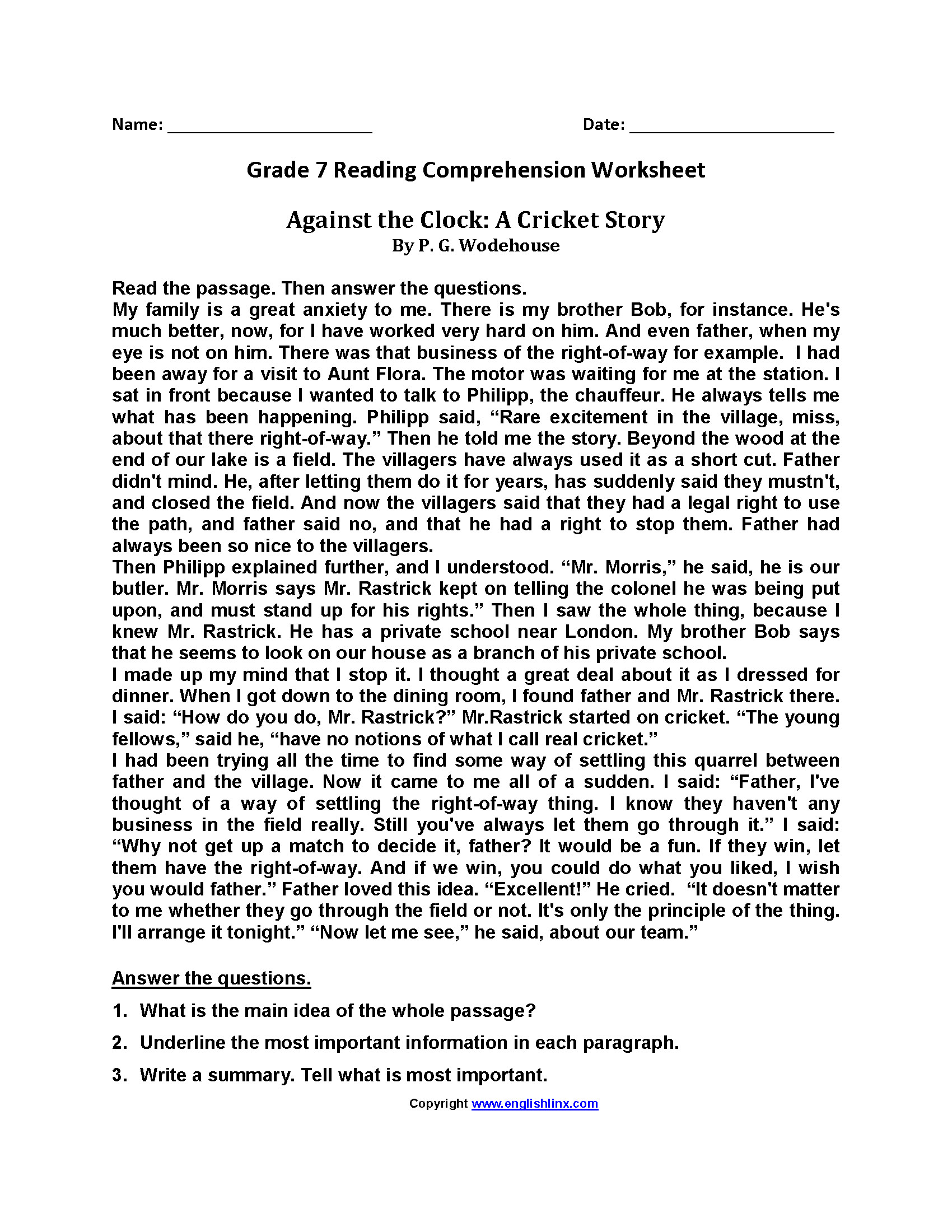 Reading Comprehension 7th Grade Worksheet E Reading Worksheets 7th Grade