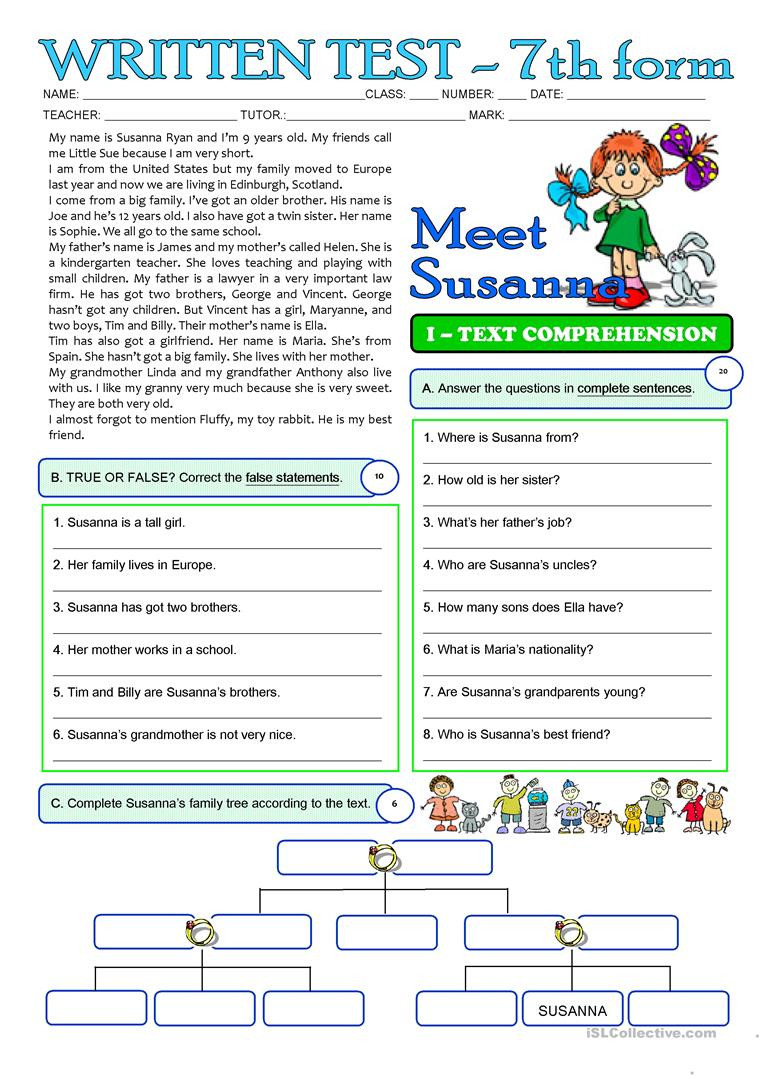 Reading Comprehension 7th Grade Worksheet Susanna S Family 3 Page Test 7th Grade English Esl