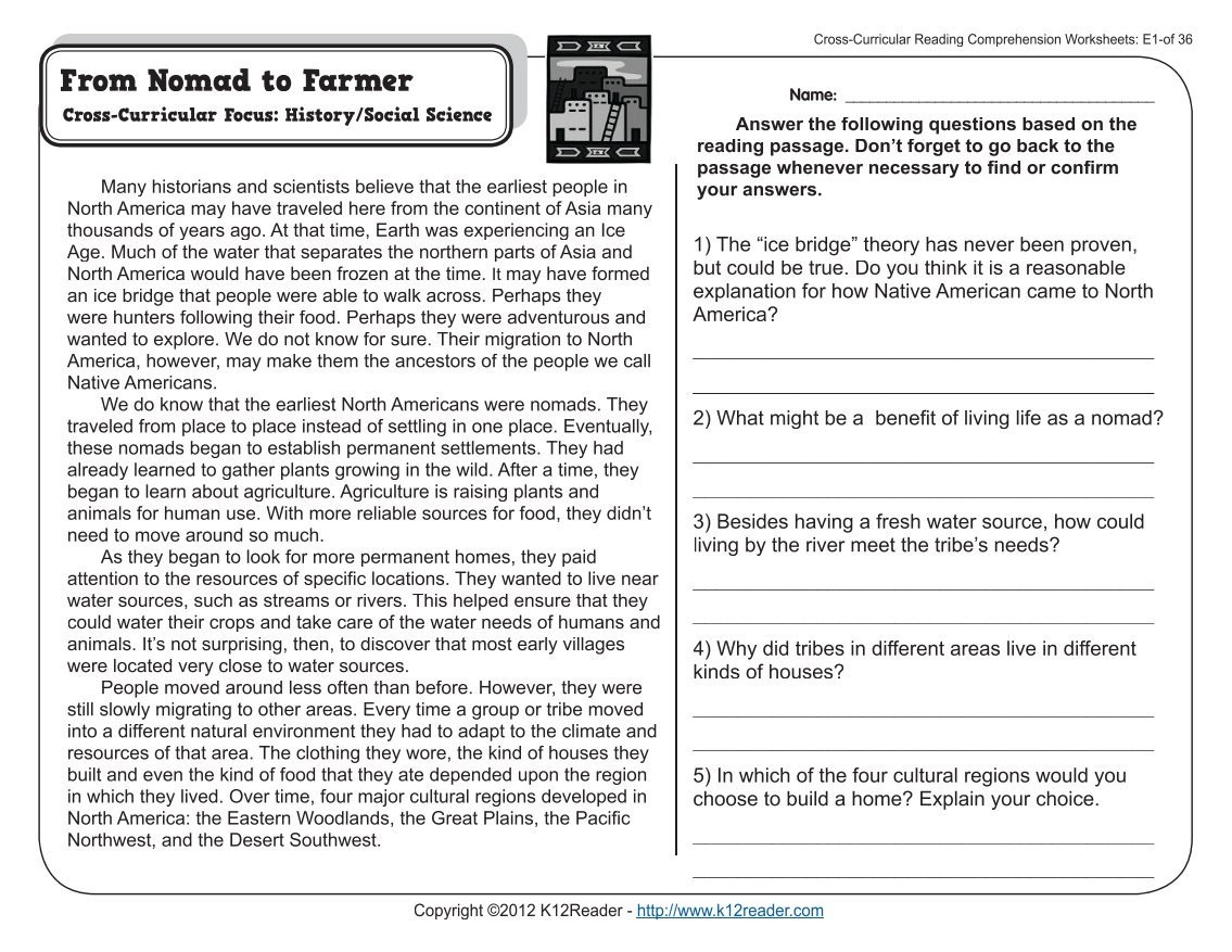 Reading Worksheets 5th Grade 5th Grade Reading Prehension Worksheet