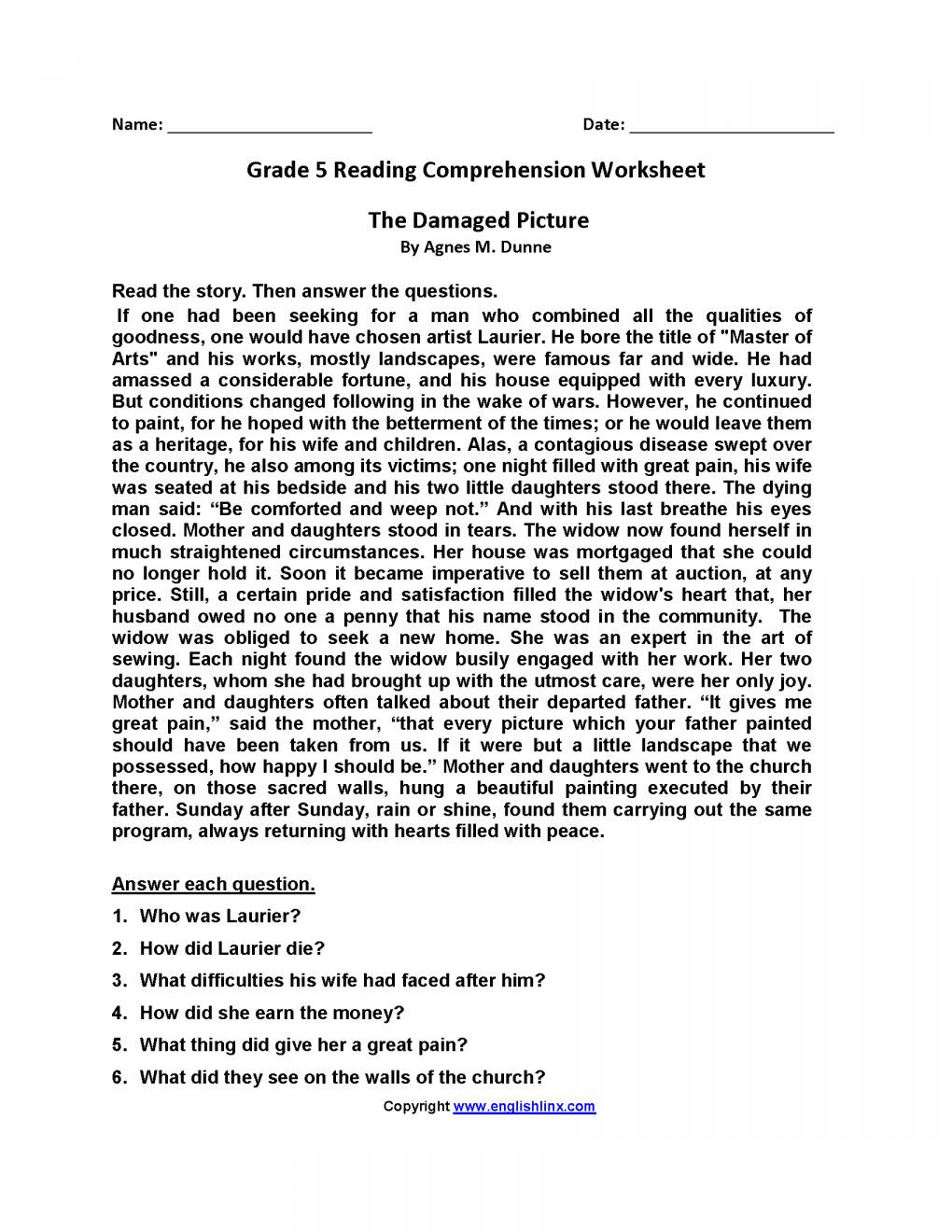 Reading Worksheets 5th Grade 7 5th Grade Ela Worksheets Grade