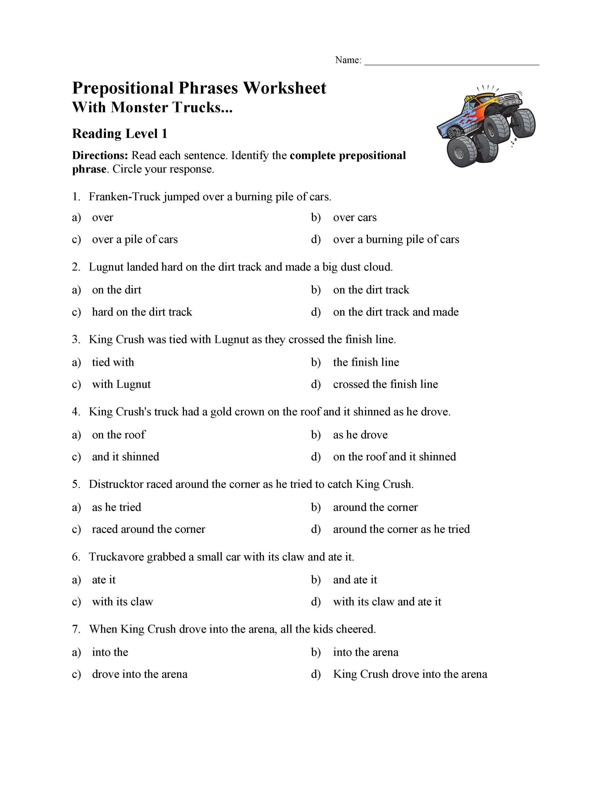 Reading Worksheets 5th Grade Prepositional Phrases Worksheet 1 Reading Level 1