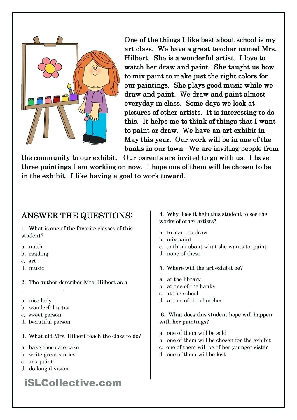 Reading Worksheets Grade 5 5 Elements A Short Story Worksheets Free Preschool