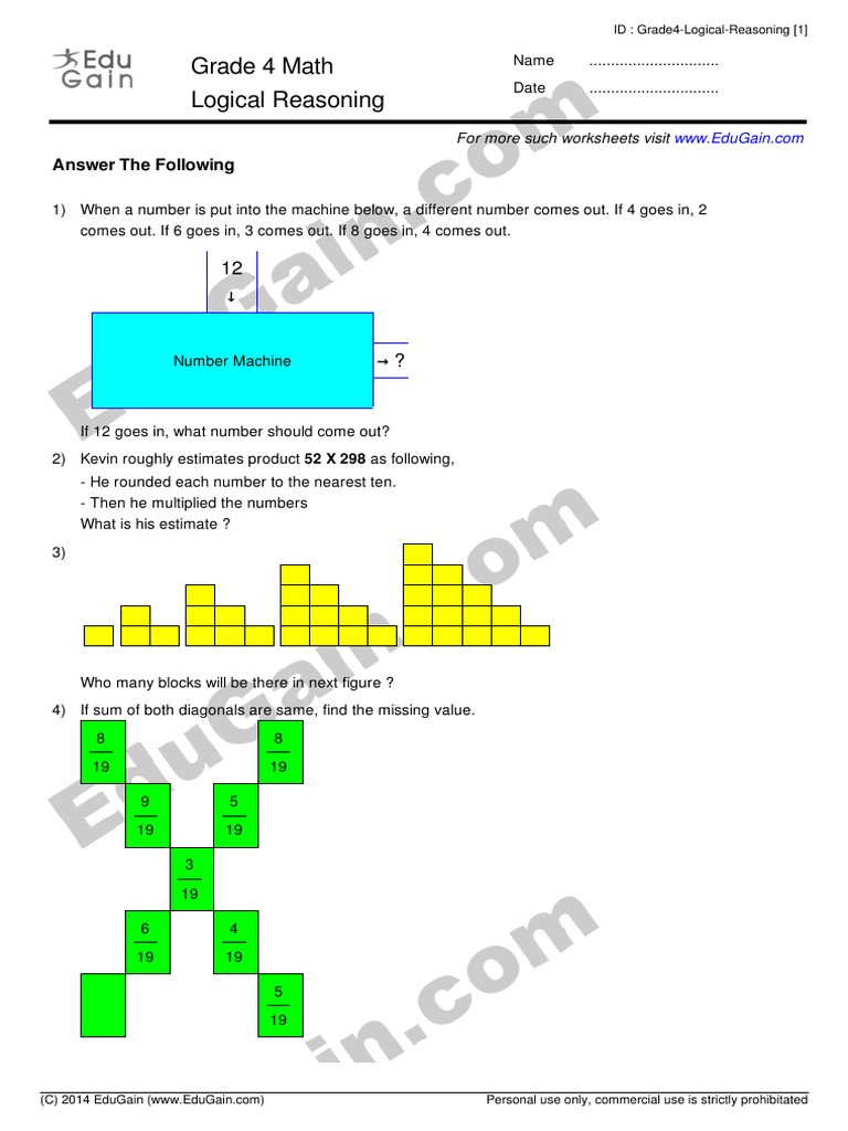 Reasoning Worksheets for Grade 1 Grade 4 Logical Reasoning Edugain