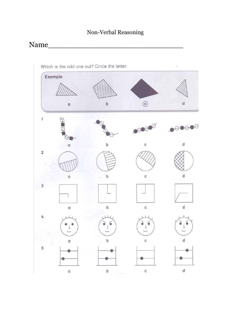 Reasoning Worksheets for Grade 1 Non Verbal Reasoning Interactive Worksheet