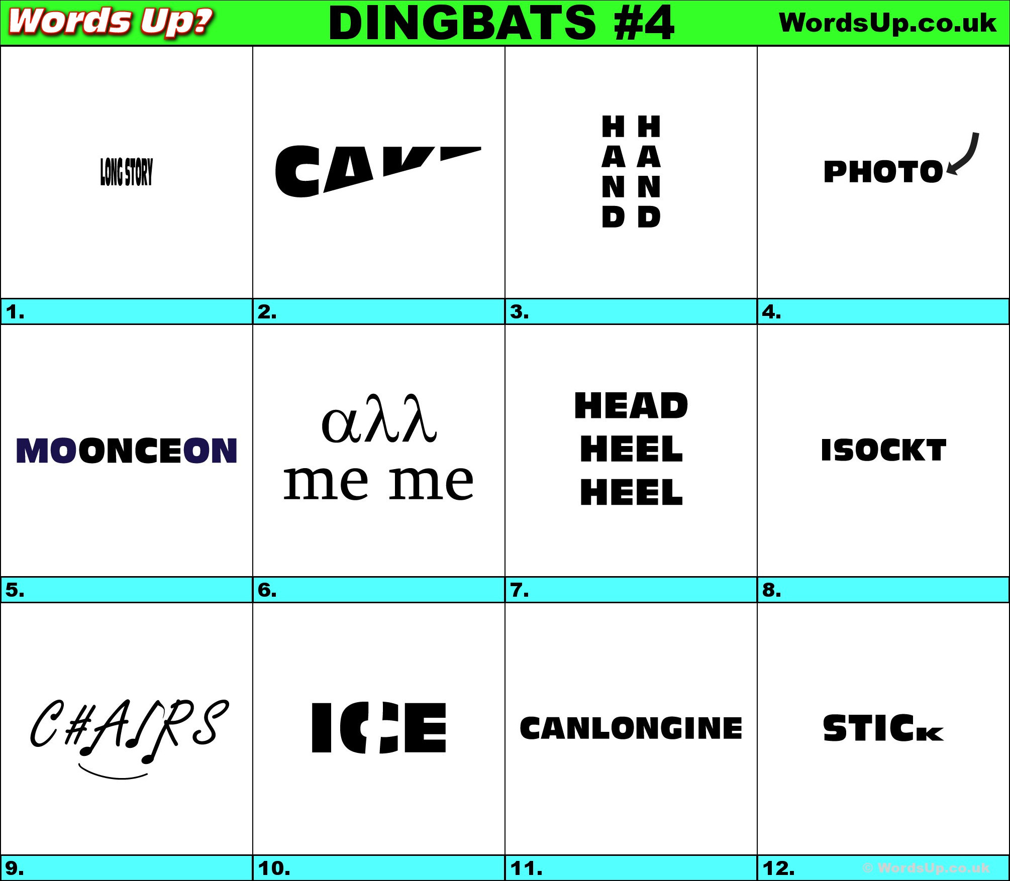 Rebus Puzzles for Adults Printable Words Up Dingbat Puzzles 4