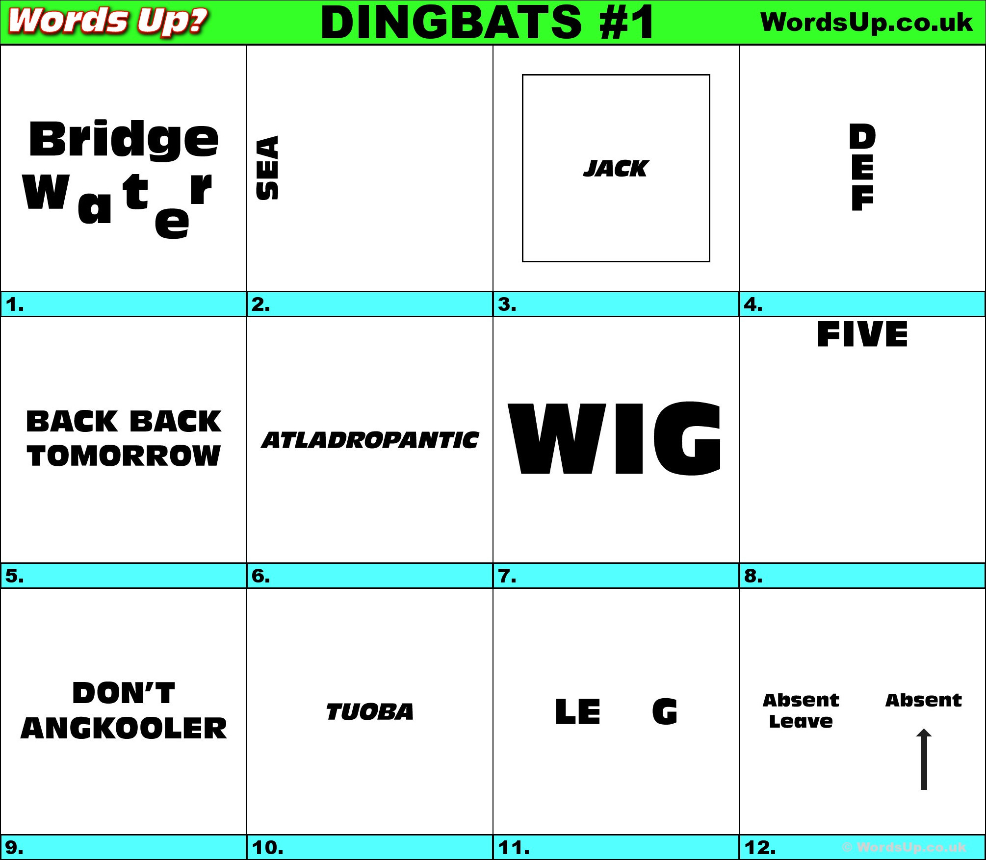 Rebus Puzzles for Adults Printable Words Up Dingbat Puzzles R1